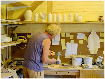 Trecarne Pottery - Michel Roux at work