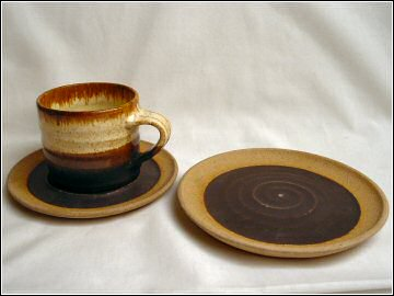Newlyn Harbour Pottery - cup, saucer and plate