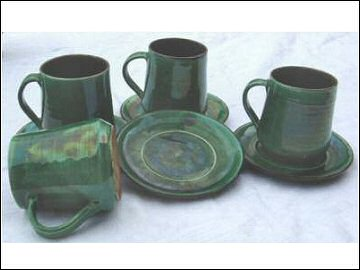 Avalon Pottery Cups and Saucers
